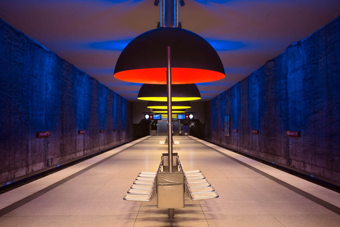 Blue-Red-Yellow - The underground station Westfriedhof in Munich.