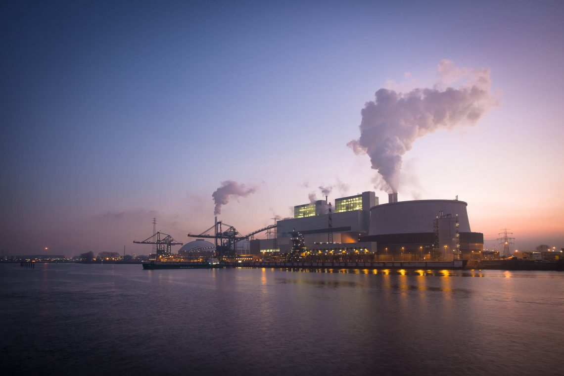 Power plant Moorburg at soft evening light