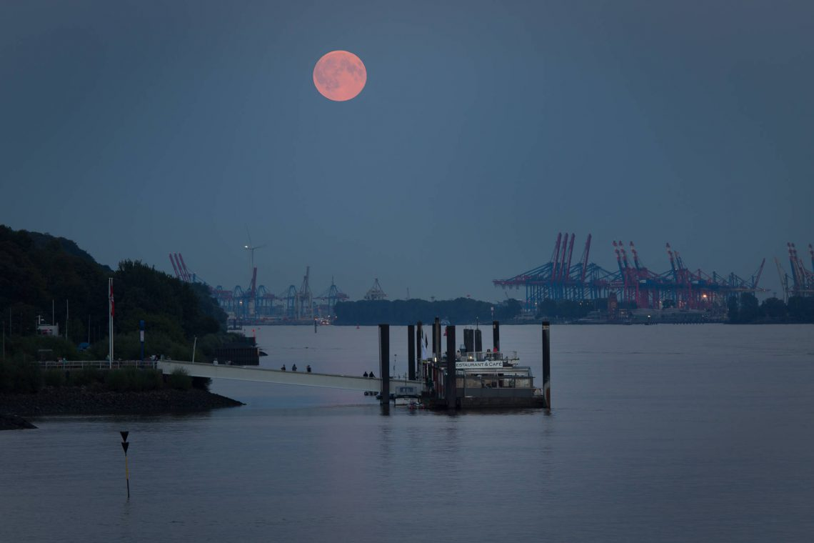 Full moon over the harbor